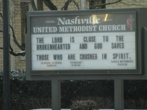 Church sign in Nashville, Michigan